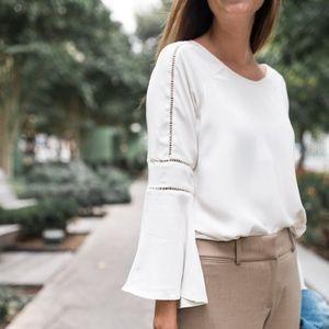 LOFT Tops - LOFT white cutout bell sleeve blouse